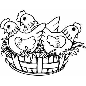 French Hens coloring page