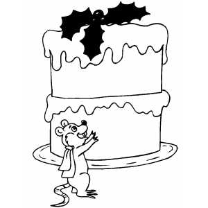 Mouse And Big Cake coloring page