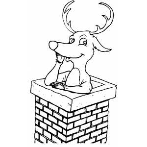 Reindeer In Chimney coloring page