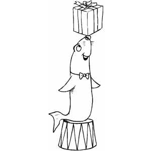Seal And Gift coloring page