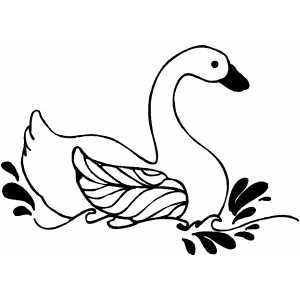 Swimming Swan coloring page