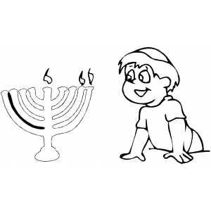 Boy Looking At Menorah coloring page