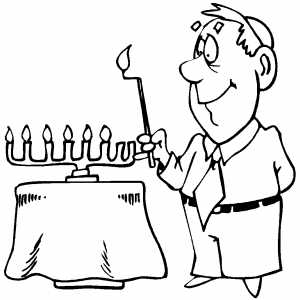 Lighting Menorah coloring page