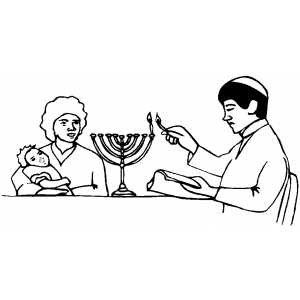 Man Lighting Menorah coloring page