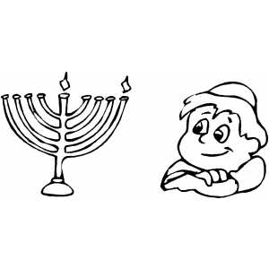 Menorah And Boy coloring page