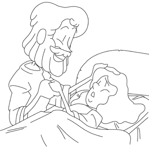Christ Heals Sick Woman coloring page