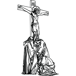 Crucifixion with Disciples coloring page
