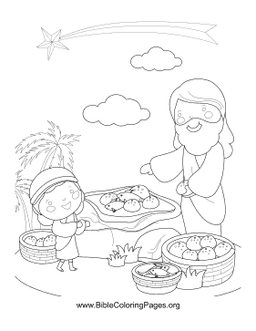 Fish and Loaves Vertical coloring page