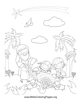 Jesus Children Wheelbarrow Vertical coloring page