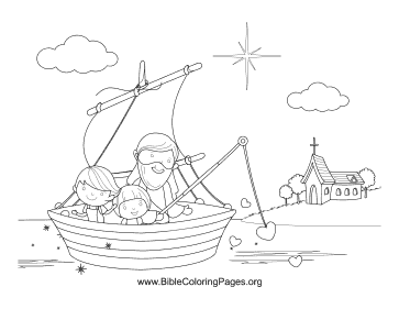 Jesus Fishing Hearts coloring page