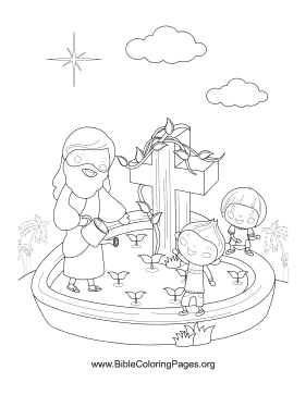 Jesus Kids Pond Vertical coloring page