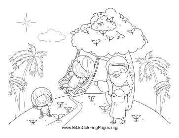 Jesus Kids on Swing coloring page