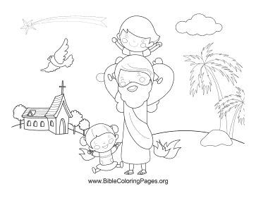 Jesus Playing with Children coloring page