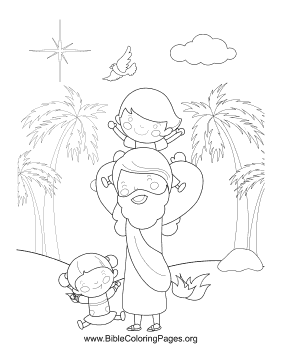 Jesus Playing with Children Vertical coloring page