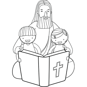 Jesus Reading Bible with Children coloring page