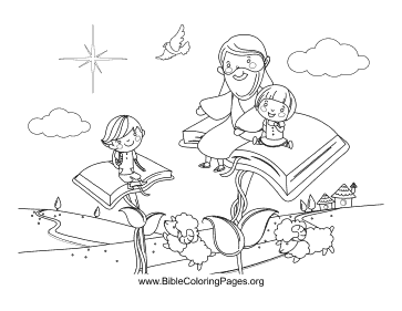 Jesus Sitting on Books coloring page