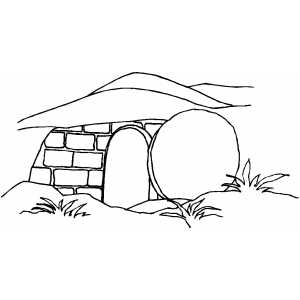 Jesus Tomb With Stone coloring page