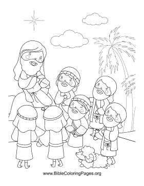 Jesus and Disciples Vertical coloring page