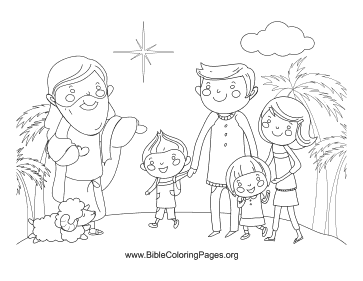 Jesus and Family coloring page