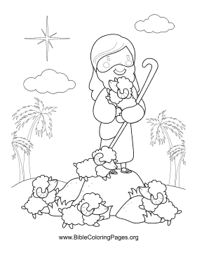 Jesus and Flock Vertical coloring page