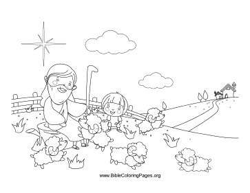 Jesus and Sheep coloring page