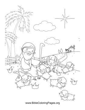 Jesus and Sheep Vertical coloring page