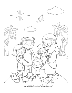 Jesus with Family Vertical coloring page