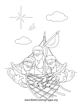 Jesus with Fishermen Vertical coloring page