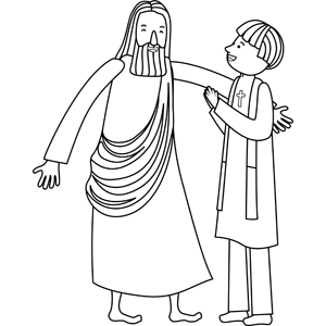 Jesus with Minister coloring page
