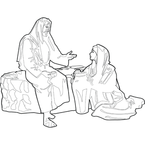 Jesus with Woman at the Well coloring page