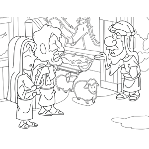 Joseph and Mary with Child At the Inn coloring page