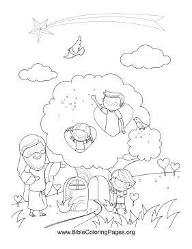 Kids in Tree Vertical coloring page