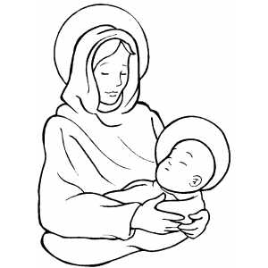 Madonna With Sleeping Child Coloring Page