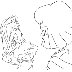 Mary Weeping as She Beholds Jesus Resurrected coloring page