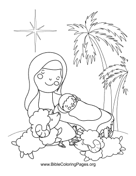 Sheep Manger Scene coloring page