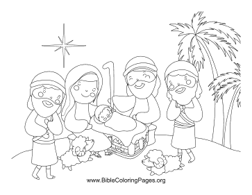 Shepherd Nativity Scene coloring page