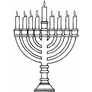 Burning Menorah Coloring Page