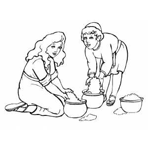 Children Collecting Manna coloring page