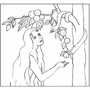 Eve Lured By Serpent coloring page