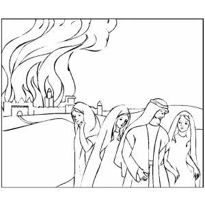 Lot And Family Leaving Town coloring page