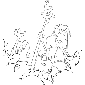 Moses Makes A Great Bronze Snake On A Staff Coloring Page