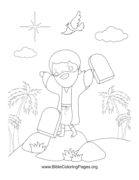 Moses Stone Tablets Vertical coloring page