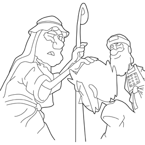 Moses blessing a boy coloring page