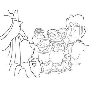 Moses preaches to his people coloring page