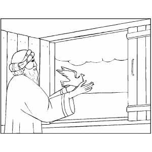 Noah Freeing Dove coloring page