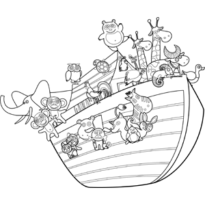 noah 39 s ark with animals coloring page. Black Bedroom Furniture Sets. Home Design Ideas