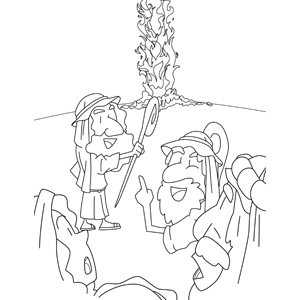 A Pillar of Fire Guides Moses Through the Desert coloring page