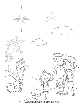 Family with Sheep coloring page