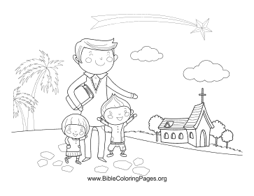 Father with Kids coloring page