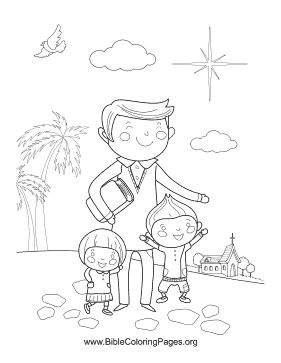Father with Kids Vertical coloring page